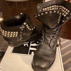 FRYE Logan Rogan Studded Lace Boots